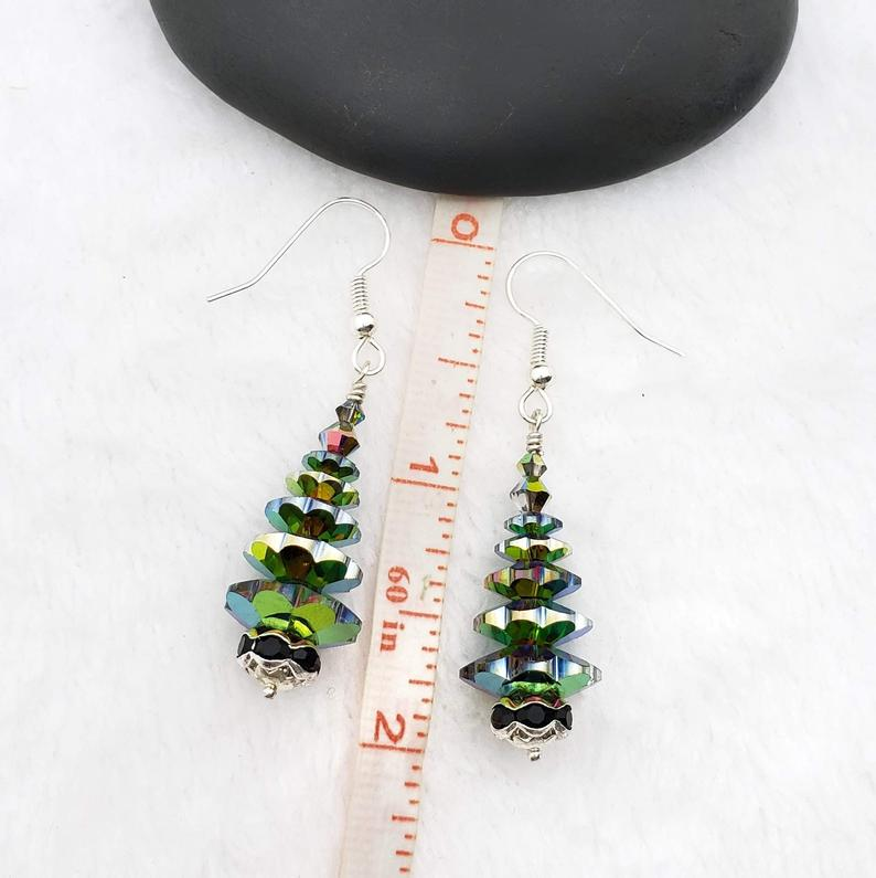 warovski Christmas Tree Earrings With Vitrail Stained Glass Crystals and Jet Rhinestone base