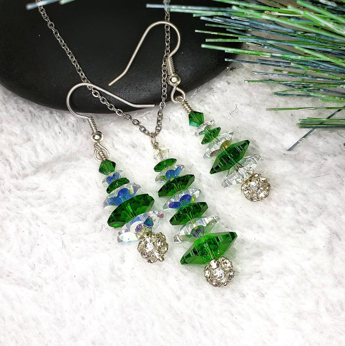 Green Swarovski Crystal Tree Necklace and Earring Set, with Rhinestone Ball Base Winter Forest Collection