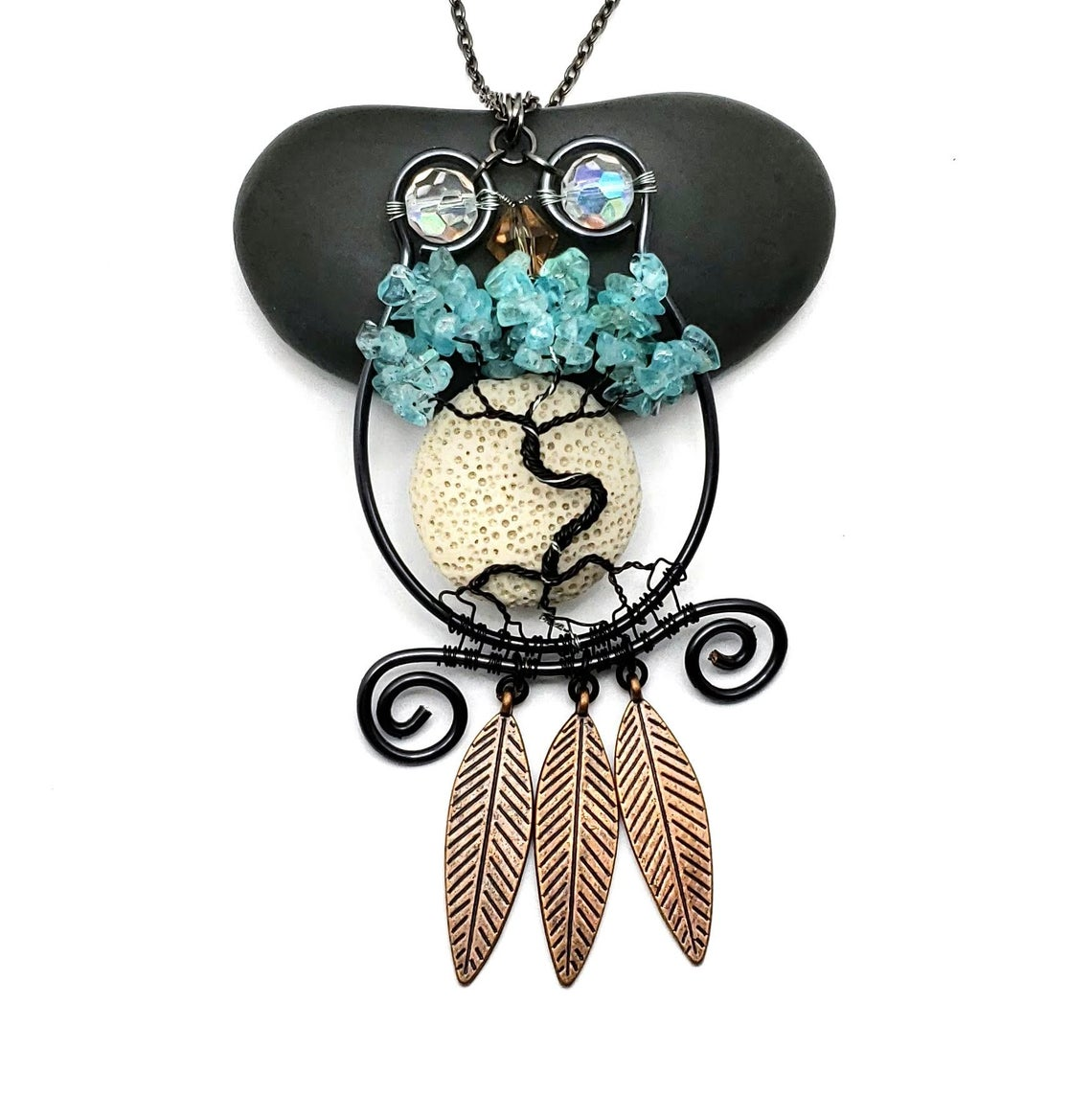 Apatite Owl Tree of Life Pendant, With Oil Diffusing Lava Rock