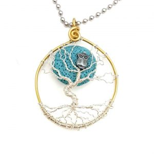 "Winter Blue Moon Dancing Tree Pendant with Oil Diffusing Lava Bead, 2"" Diameter"