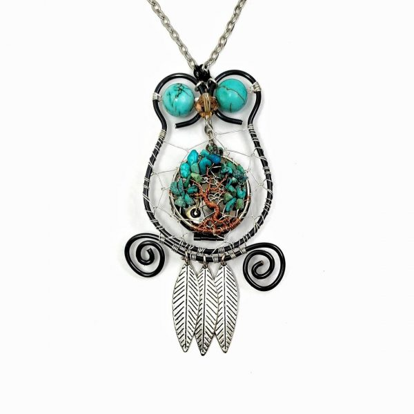 Boho Style Dream Catcher Owl with Tree of Life and Oil Diffusing felt Pad