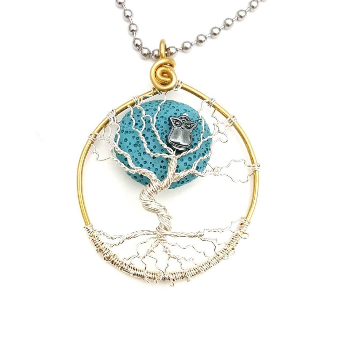 Winter Blue Moon Dancing Tree Pendant with Oil Diffusing Lava Bead, 2″ Diameter