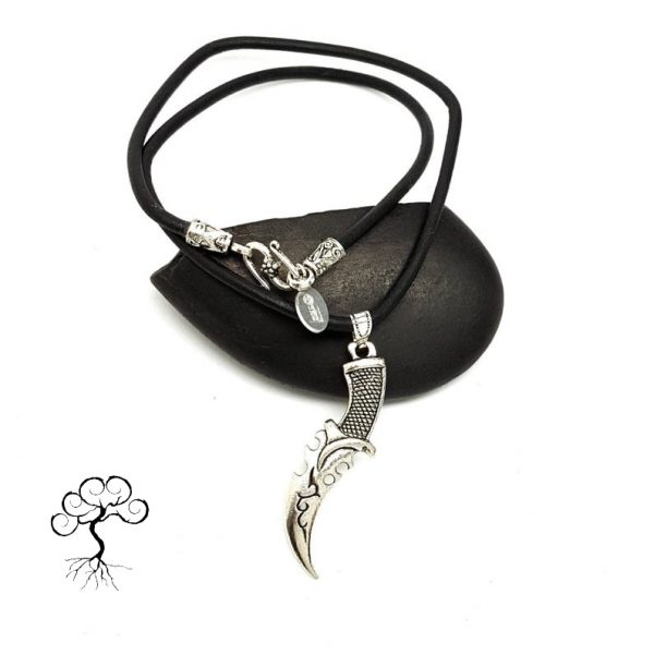 Mens Knife Charm Necklace on Leather Cord with Silver Plated S Clasp