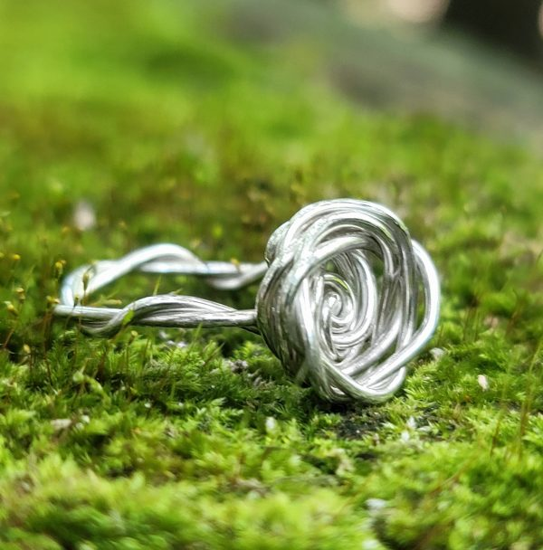 Sterling Silver Rose Ring with Twisted Band