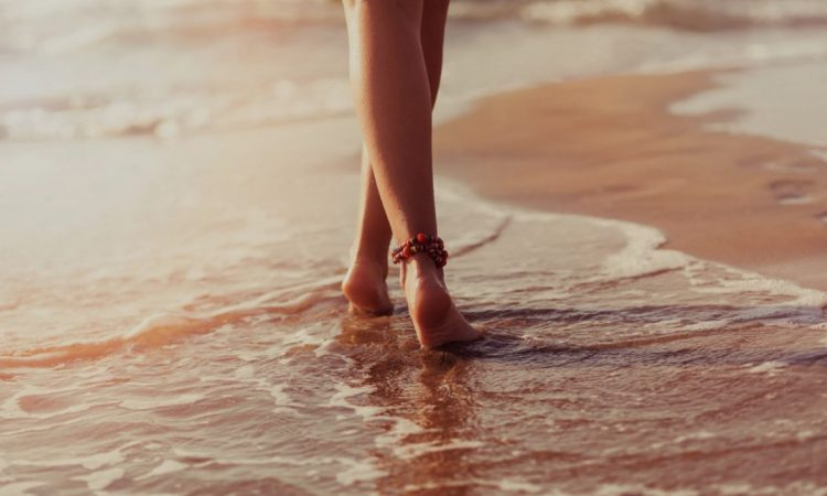 barefoot at the beach