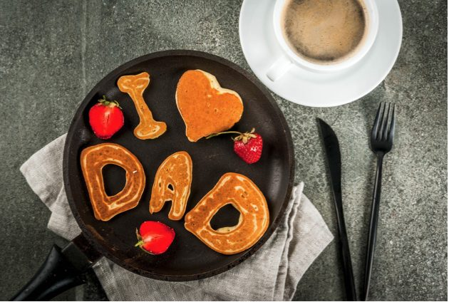 Father's Day breakfast pic with the words I love dad